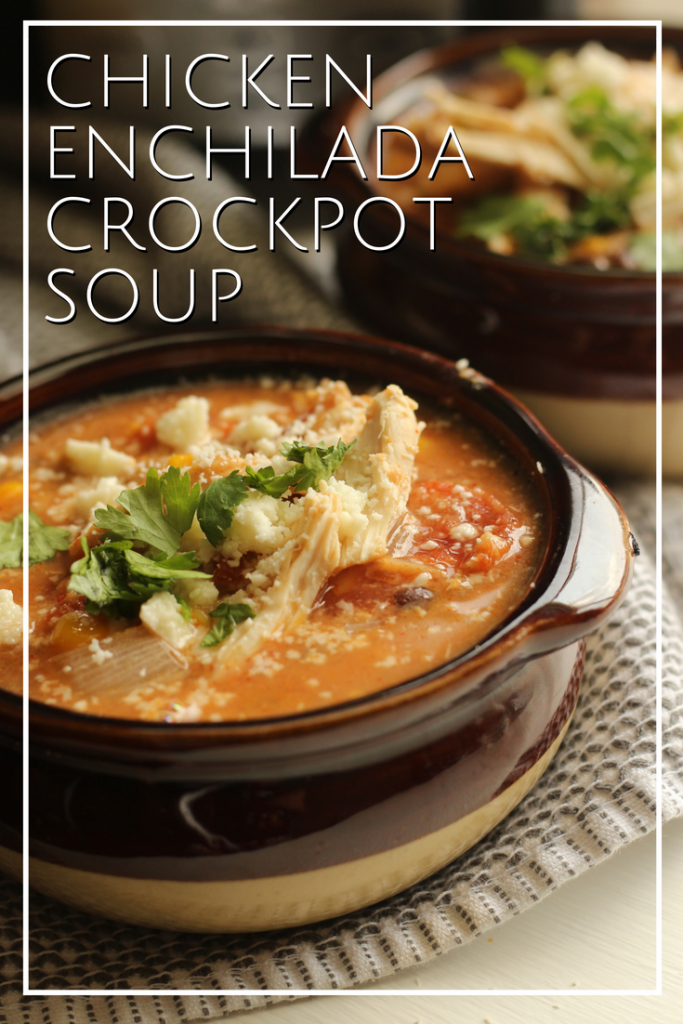 This quick and easy crockpot soup is a family pleaser! Our chicken enchilada soup is great for families, potlucks and a perfect soup to share.