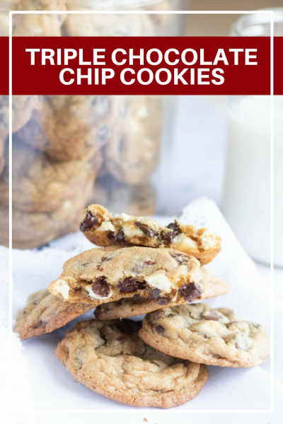 These triple chocolate chip cookies will make your friends and family smile. A quick dessert that is perfect for any occasion.