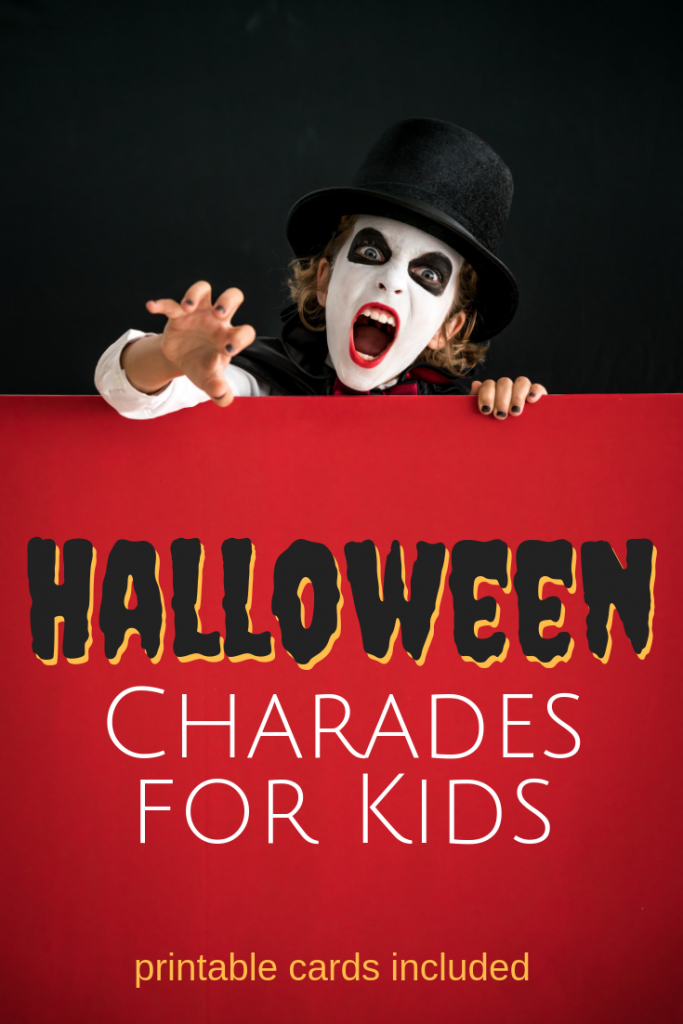 Charades is the perfect kid-friendly game for your Halloween party. Printable cards included.