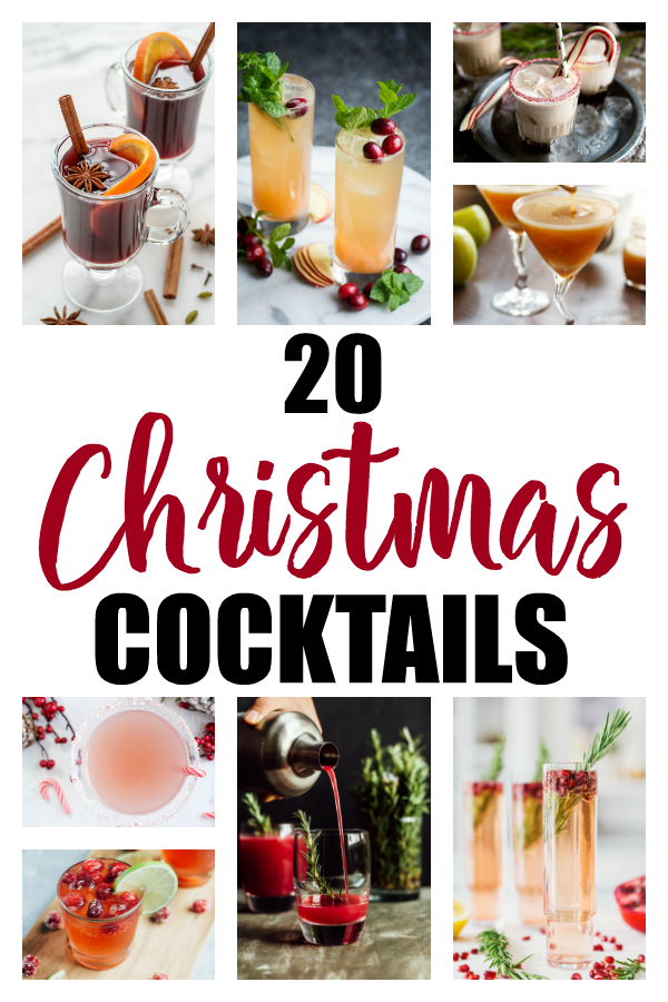 These Christmas Cocktails will get your holidays going! Champagne spritzers, whiskey sours, apple martinis, White Russians and more. Which one will be your favorite pick?