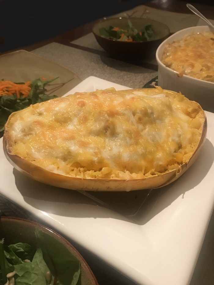 Our Green Chili Enchilada Spaghetti Squash recipe is a new family favorite. Bring a little spice to one of our favorite winter squashes.