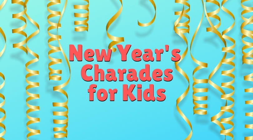 image relating to Printable New Year Cards referred to as Contemporary Several years Eve Charades with Young children - absolutely free printable playing cards
