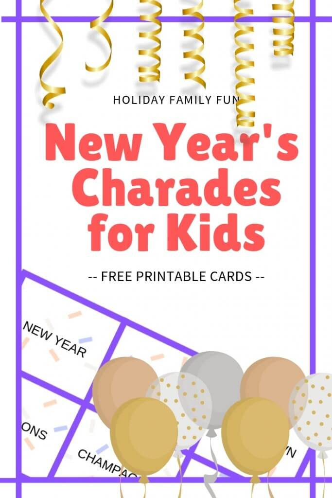 photo regarding Charades for Kids Printable called Clean Several years Eve Charades with Youngsters - no cost printable playing cards
