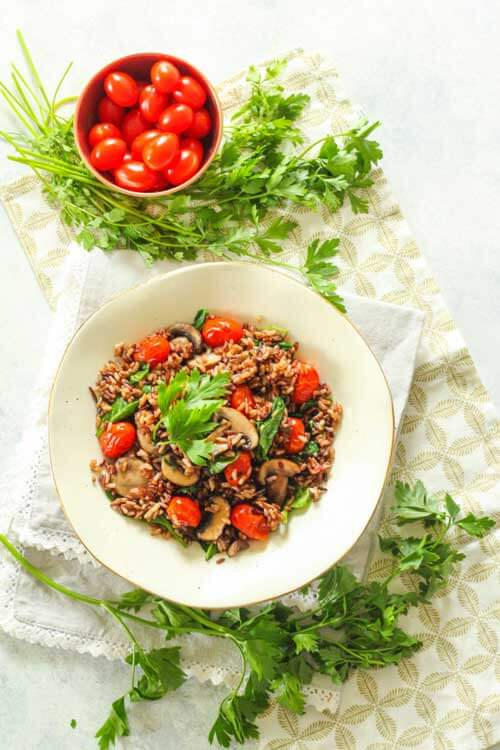 Instant Pot Wild Rice With Mushrooms, Spinach And Cherry Tomatoes by Zen And Spice