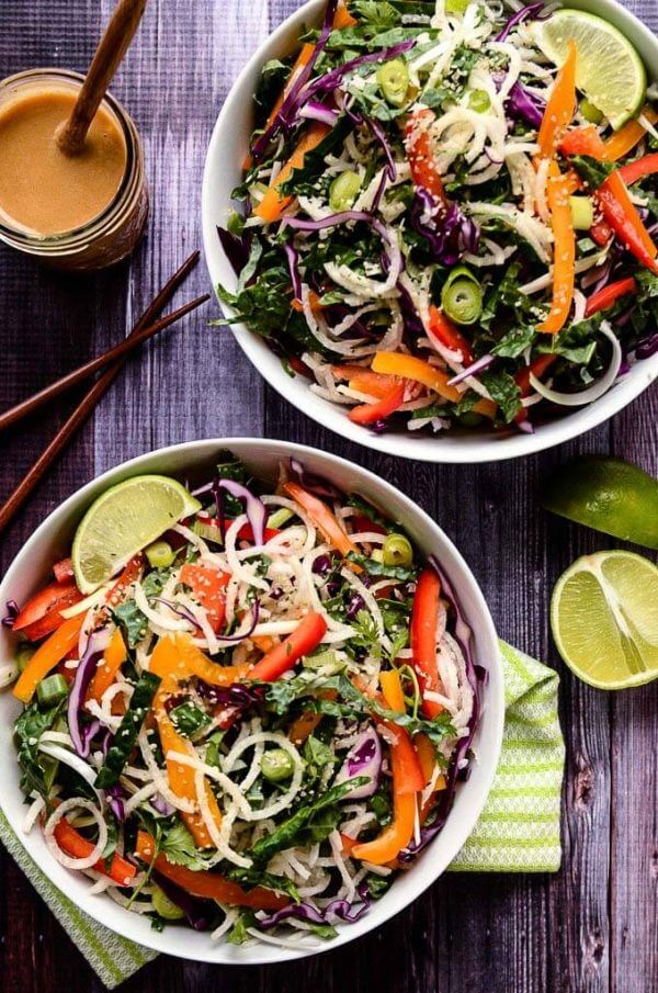 Colorful Jicama Noodle Salad with Creamy Tahini-Ginger Dressing by Blissful Basil