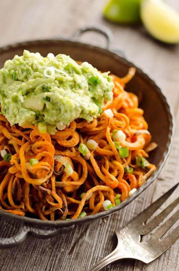 Spicy Roasted Sweet Potato Spirals with Guacamole by The Creative Bite