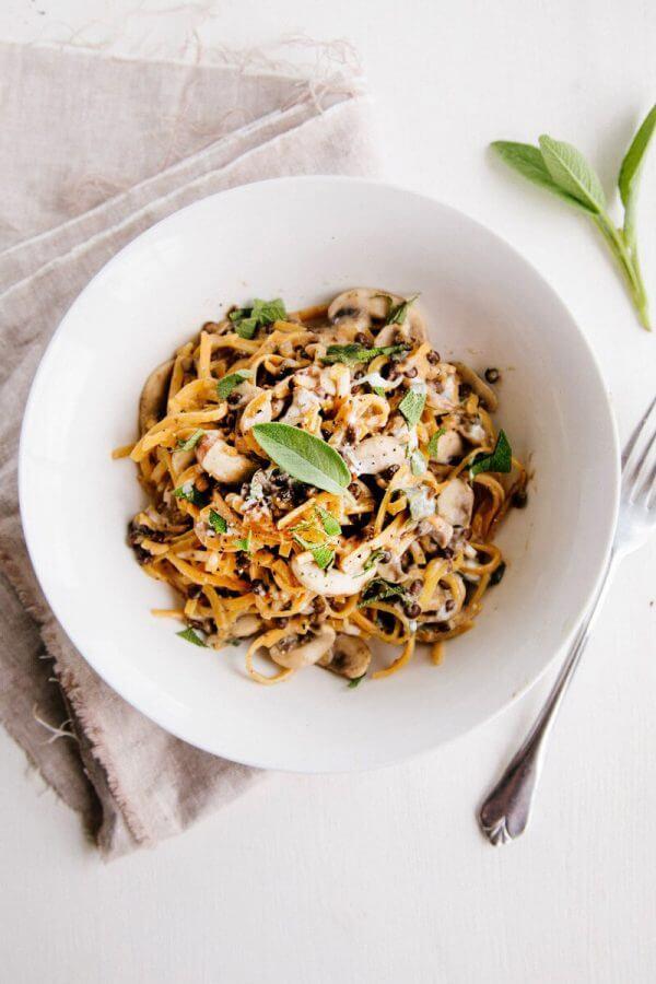 Spiralized Butternut Noodles With Creamy Garlic Mushroom Lentils by Wallflower Kitchen