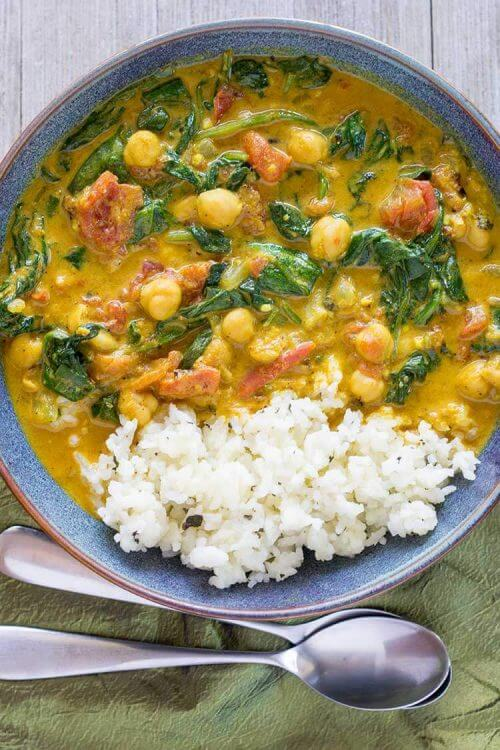 Instant Pot Curry with Chickpeas, Tomatoes & Spinach by The Foodie Eats