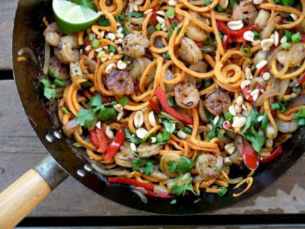 Sweet Potato Pad Thai With Shrimp by The Good Hearted Woman