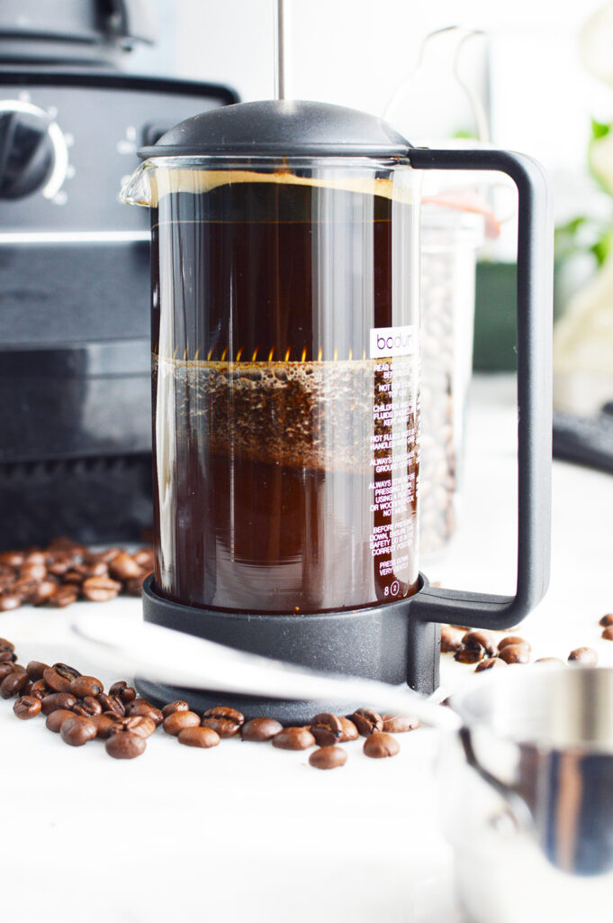 Coffee steeping in a French press for Bulletproof Coffee