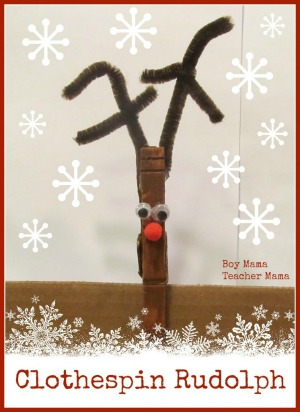 Clothespin Rudolph Christmas craft for kids